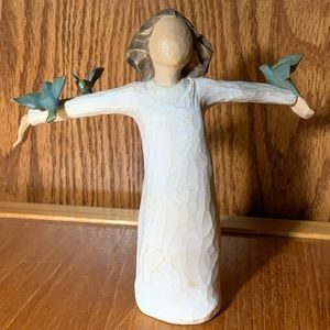 """Willow Tree figurine """"Happiness"""" with bluebirds"""